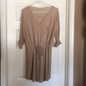Women's large khaki drawstring waist dress